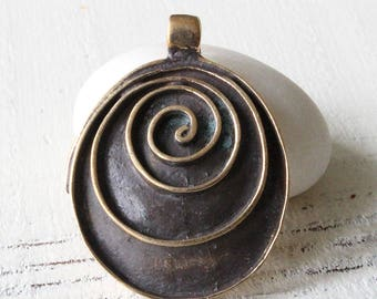 Oval Spiral Bronze Pendant - Spiral Pendant Beads For Jewelry Making - Jewelry Supplies - Made In Bankok Thailand