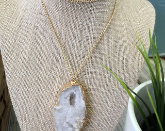 Boho chic pendant necklace on sterling silver chain