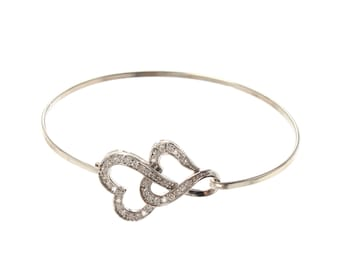 Double Heart bangle Sterling Silver/Cubic Zirconia