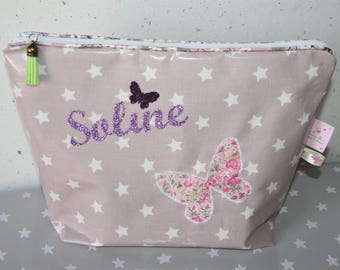 Toiletry bag cotton coated your choice, custom name and Butterfly
