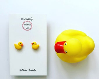 Rubber Ducky Earrings - Handmade with Stainless Steel Studs