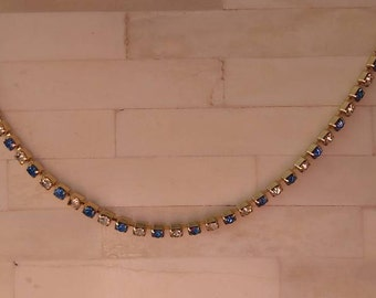 "Necklace / 18"" Sapphires and Rhinestones / Hinged Clip"