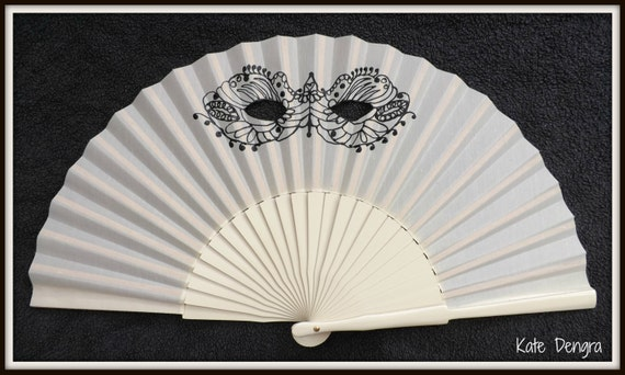 Masquerade Ball Mask Venetian Gothic Steampunk Hand Painted Wooden Folding Wooden Hand Fan Cream Black by Kate Dengra Spain