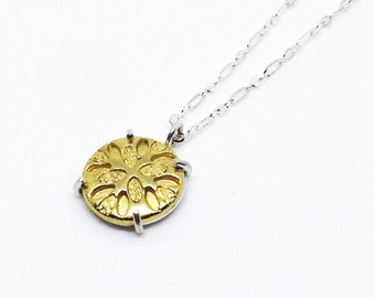 Golden Leaves Burst Sterling Silver Claw Necklace