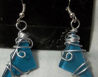 Hand Wired Sea Glass  Earrings