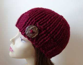 Chunky Knit Hat Winter Hat Chunky Knit Beanie Womens Hat Teens Hat - Burgundy with  Button Accent  - Ready to Ship - Gift for Her