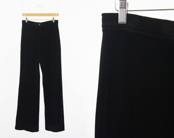 29 X 33 Vintage ACT III Thick Black Velour High Waist Wide Leg Button and Zip Front Woman's Retro Pants