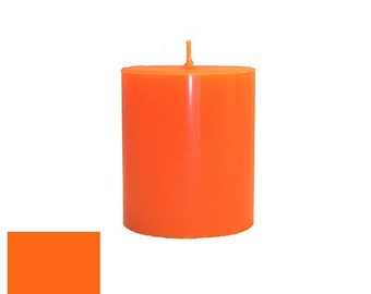 3 x 3.5 Orange Classic Hand-poured Unscented Pillar Candles Solid Color