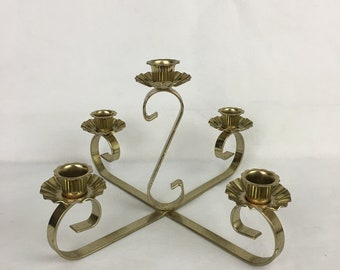 Candelabra 5 Arm Candle Holder Gold Brass Centerpiece Table Top Wedding Any Occasion Unmarked