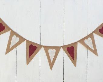 Heart Banner,Heart Burlap Banner,Valentines Banner,Valentines Burlap Banner.Valentines Day Decor,Rustic Valentine, Valentine Garland/Bunting