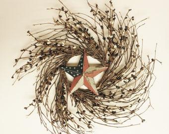 Primitive Americana Twig Wreath with Flag Star, Handmade Wreaths, Twig Wreaths, Country Farmhouse Decor, Summer Decor, Americana Decor