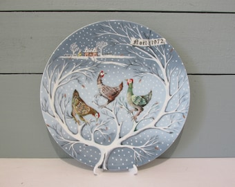 Haviland Limoges Collectors Plate - Three French Hens - 3 of 12 Days of Christmas - 1972