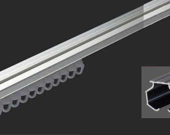 Curtain rail aluminum rigid - white - fixing ceiling/wall - complete Set