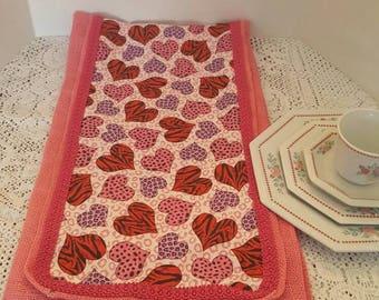 VALENTINES TABLE RUNNER, Burlap Table Runner, Pink, Red and Lavender Table Runner