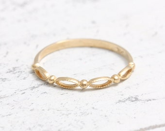 Tiny Ball with Lace Thin Band Solid Gold Ring, Delicate Milgrain Stacker Ring