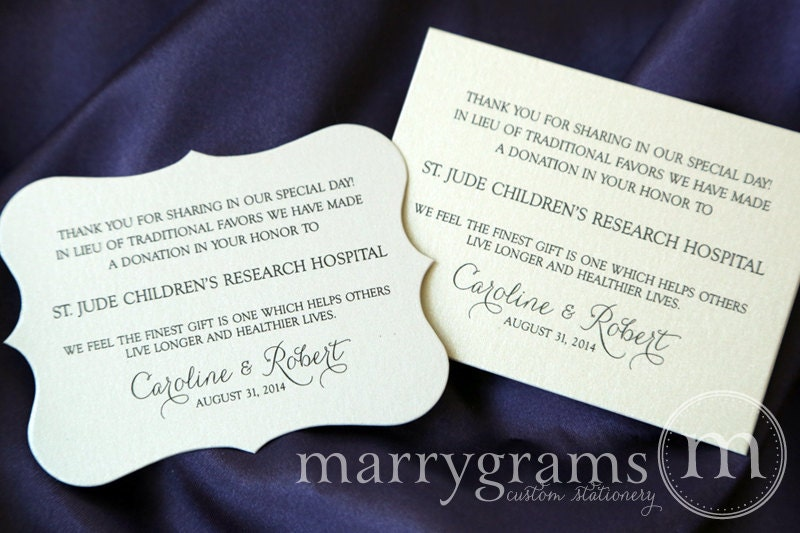 Wedding donation favor cards in lieu of favors reception zoom stopboris Image collections