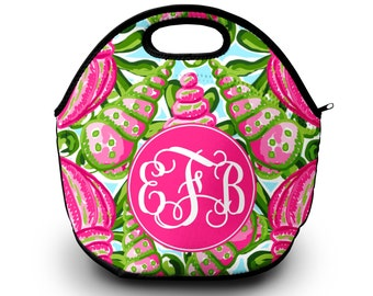 Lilly Pulitzer Inspired Lunch Box | Monogram Lunch Bag | Gift For Her Lunch Bag for Women