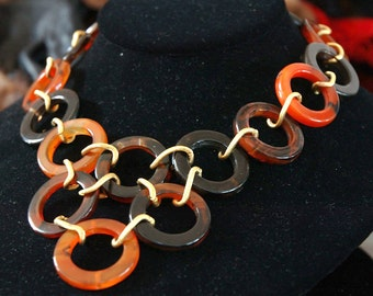 Repurposed Carnelian Link Necklace, Hoop Bib Styling, Rich Earth Shades, Chalcedony Agate