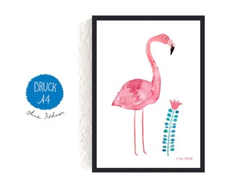 Art Print / small poster *flamingo with flower*