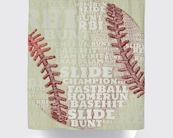 Shower Curtain And More   Baseball Baseball Team Typography Sports Bathroom  | See Dropdown For Pricing