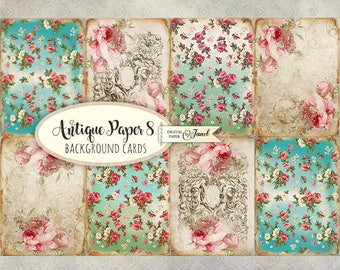 Antique Paper 8 - background cards - digital collage sheet - set of 8 - Printable Download