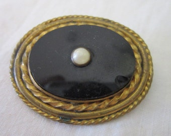 Antique Victorian Black Glass & Pearl Gold Filled Brooch Pin