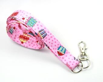 CUPCAKE Fabric Lanyard, Fabric Lanyard, Fabric Badge Holder, Cupcake Badge Holder