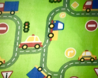 """Fabric Listing Only - 31"""" x 60"""" - Cars Trucks Construction Fleece Fabric 31"""" x 60"""" - Fabric Only Listing Green Primary Colors"""