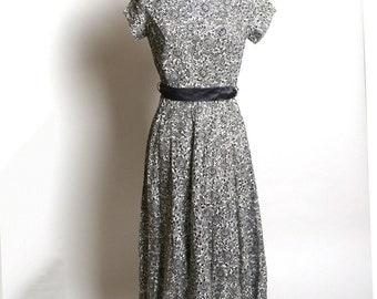 Circa 1950s Gray and White Cotton Eyelet Dress