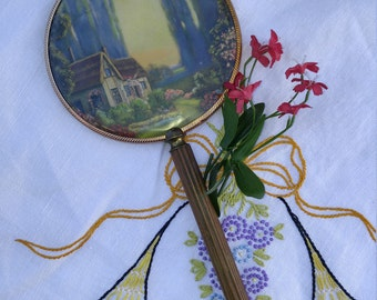 Vintage Hand Mirror With Country Cottage Scene Copper and Brass Handle