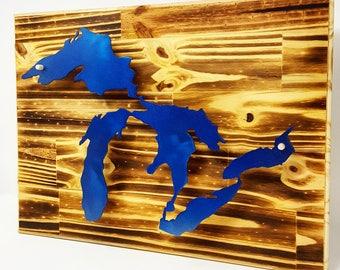 Great Lakes Metal 3D Wall Decor Wood Burned - Michigan Made