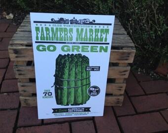 """Farmer's Market """"Go Green"""" Asparagus Letterpress Poster"""