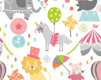 Circus Fabric - Step Right Up Pink The Calliope Collection by Maude Asbury - Elephant, Seal, Lion, Unicorn - Blend Fabrics - One Yard Fabric
