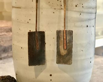 Hand forged bronze rectangle paddle earrings