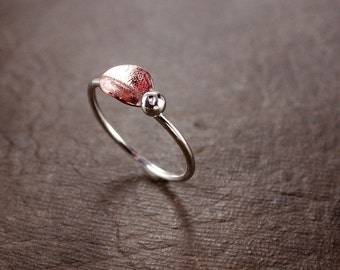Leaf Ring,  stacking, copper, sterling silver, Nature inspired