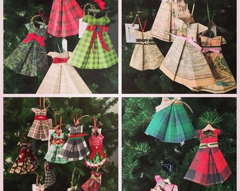 Hand folded, Origami dress ornament or Holiday decoration/ paper dress