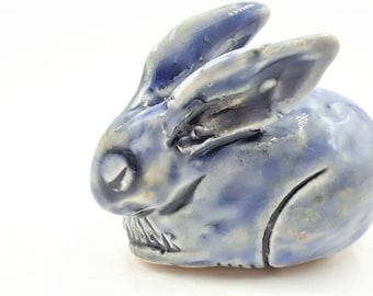 Little blue rabbit - porcelain hand sculpt