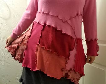 Asymmetric Cashmere Tunic Sweater L/XL Large Ruffled Mini Dress Colorblock Recycled Patchwork Pink