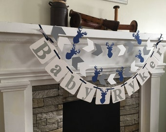 Little Buck Baby Shower Decorations Welcome Baby Banner Buck Decor Woodland Deer Personalized Baby Name Banner Buck Or Doe Custom Colors