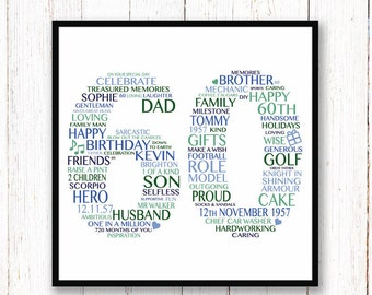 60th Birthday Print -- Personalised 60th Birthday Gift for Him -- Typography Print -- Happy 60th Gift -- Birthday Print -- Gift for Him --