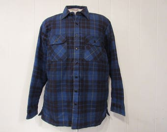 Vintage shirt, plaid shirt, 1970s shirt, retro shirt, insulated shirt, flannel shirt, vintage clothing, large, NOS
