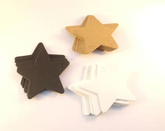 50 tags labels cardboard stars 6cm