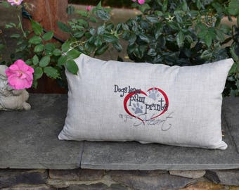 Dogs Leave Paw Prints on Your Heart  -  Dog Themed Throw Pillow - Accent Pillow -  Gift by Three Spoiled Dogs