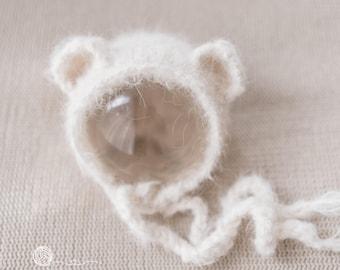 Teddy Bonnet, Newborn Boy, Newborn Girl, Mohair Like yarn, Alpaca yarn, photography props, 6-9 Months Teddy Hat,