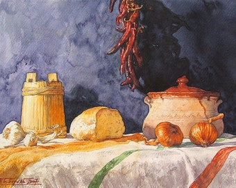 Balkan Table Still Life, Serbian Table Still Life (Print)