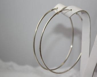 Hoop sterling silver earrings, Big circle earrings, Big round sterling silver earrings, Big sterling silver earrings, Round earrings