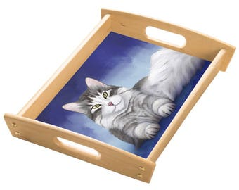 Persian Cat Wood Serving Tray with Handles Natural