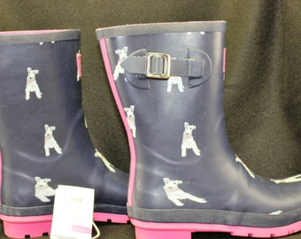 JOULES Wellies mollywelly chipdog UK 8 EU42 US10, rain boots wire fox terrier