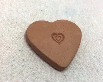 Handmade terracotta sugar keeper/ essential oil diffuser- pottery heart with heart stamp, white gift bag- brown sugar saver, valentine's day