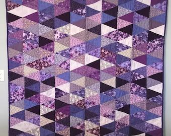 "Purple Triangle Quilt 64"" x 57"""